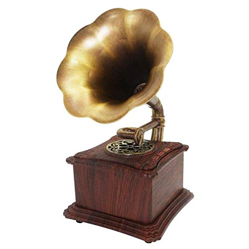 Hi-Fi audio para hogar Madera maciza Mini Vintage Retro Estilo clásico Fonógrafo Forma gramófono Altavoz estéreo Sistema sonido Caja música Audio 3,5 mm Diente azul 4.2 Entrada auxiliar Grabación vin