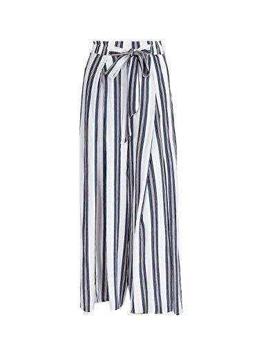 Missy Chilli Gestreifte weite Hose mit hoher Taille und Beinschlitzen Split Casual Locker Sommer-/Strandhose mit Gürtel für Damen Gr. Large, Stripe2
