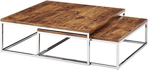 Relaxdays Couchtisch Holz FLAT 2er Set natur HBT 27 x 80 x 80 cm großer Wohnzimmertisch passt ineinander als Satztisch flacher Beistelltisch mit Chrom-Metall für Stube als Sofatisch, dunkel-braun