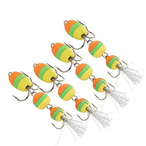 Meiyya Anzuelo de Espuma, señuelo de Pesca de Espuma Suave, Artificial 65 mm 11,5 g para Pescadores de Carpas, Aparejos de Pesca, Amantes de la Pesca(Orange Green Yellow)