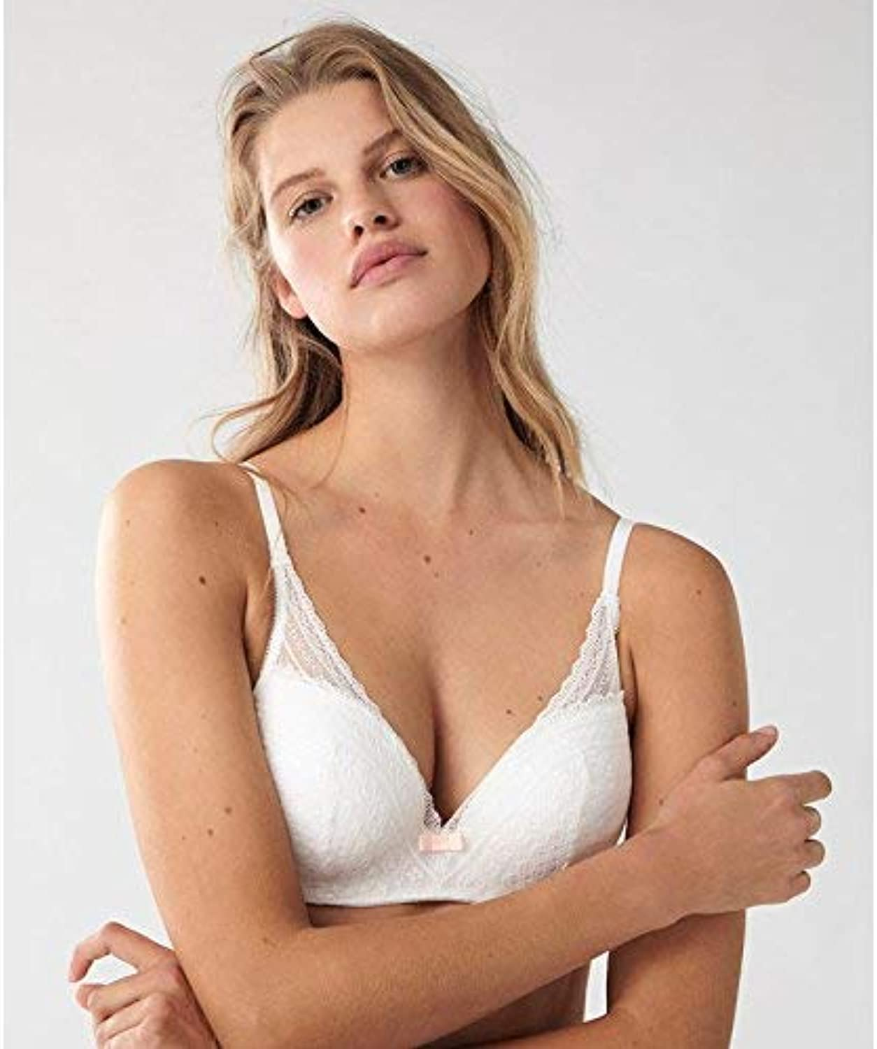White lace Full Cup Gather to Upgrade Bra (color   CA34C, Size   White)