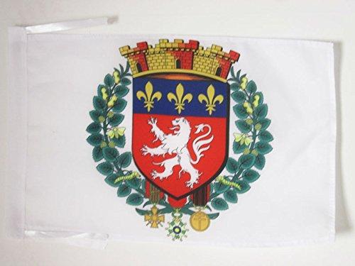 AZ FLAG Bandera de la Ciudad DE Lyon 45x30cm - BANDERINA LIONESA - RODANO 30 x 45 cm cordeles