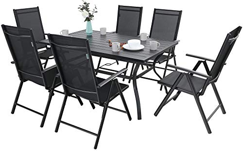 Sophia & William 7 Pieces Patio Dining Set with 6 Foldable Sling Chairs and 1 Rectangle Metal Table with Umbrella Hole, Outdoor Portable High Back Folding Dining Chairs 7 Levels Adjustable