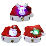Christmas Hat Funny Santa Snowmen Reindeer Christmas Party Hat 3 Pack LED Light Up Headband Soft Comfort Flannel Christmas Party Kit 11.4 Inch Wide Size for over 8 years old