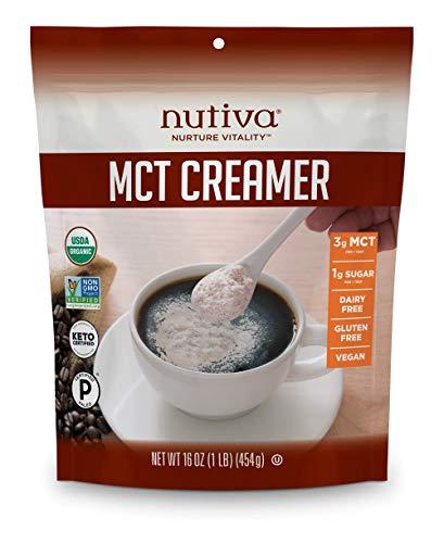 Nutiva Organic MCT Creamer for Coffee & Tea, 16 Ounce   USDA Organic, Non-GMO   Vegan, Gluten-Free, Dairy-Free, Keto & Paleo   3g MCT per Serving for Natural Energy & Metabolism Boost