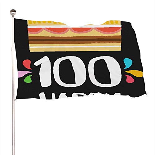 Dxichy Happy Birthday Number 100,Decoration Indoor and Outdoor BannerThe Banquet Large Greeting Card for one Hundred Years in Fun Art Style with Cake and Candles.Anniversary Invitation 3x5 Ft
