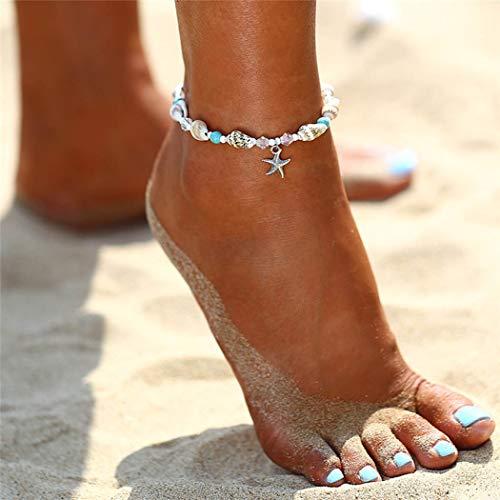 cavigliera donna turchese Yean Seashell Cavigliera Starfish Turchese Bracciale alla caviglia Bracciale in argento a forma di piede per donne e ragazze