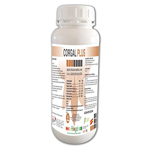 Fitogal Corgal Plus Abono Fertilizante Orgánico Mineral NPK 3-3-6,2 Envase 1L. Profesional Apto para jardinería domestica