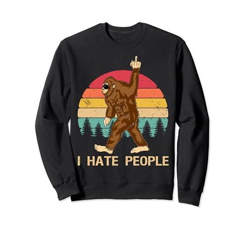 Funny Bigfoot, Odio a la gente, Dedo medio, Vintage, Retro Sudadera