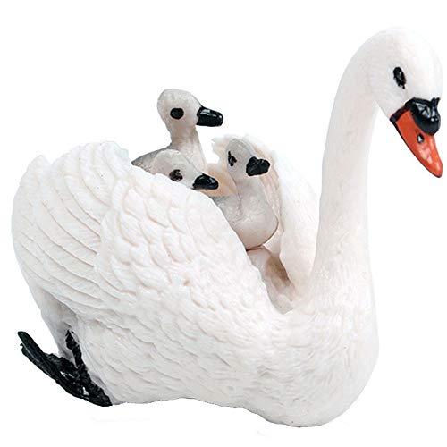 FLORMOON Cigno Figura Realistico Figurine di Animali Educazione precoce Giocattolo di Uccelli Progetto di scienze Natale Compleanno Cake Topper Bambini
