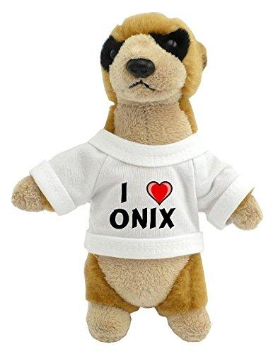 Suricata personalizada de peluche (juguete) con Amo Onix en la camiseta (nombre de pila/apellido/apodo)