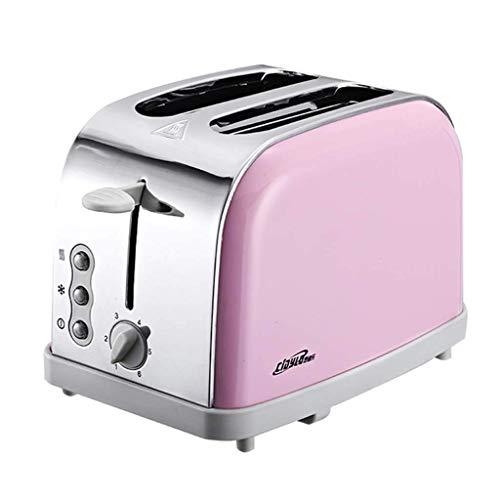 Brotmaschine 2 Toaster, Edelstahlfrühstück, 900W, Tauwetter, Auftauen, Aufheizen, Aufheizen,Pink