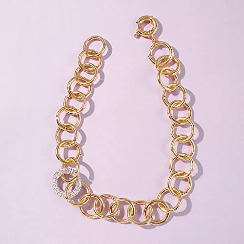 YQMJLF Collar Moda Accesorios Collares Mujer Nuevo Collar de Gargantilla de Cadena de eslabones Punk con Colgante de Diamantes de imitación Mujer Collar de Cadena Gruesa de Color Dorado Llamativo