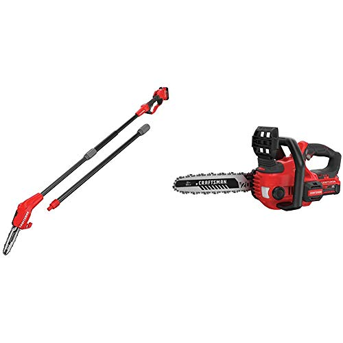 "CRAFTSMAN CMCCSP20M1 20V MAX Pole Chainsaw with CMCCS620M1 V20 12"" Cordless Compact Chainsaw"