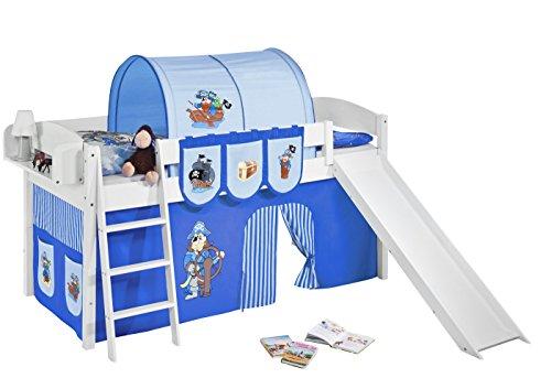 Lilokids Spielbett IDA 4105 Pirat Blau-Teilbares Systemhochbett weiß-mit Rutsche und Vorhang Kinderbett, Holz, 208 x 220 x 113 cm