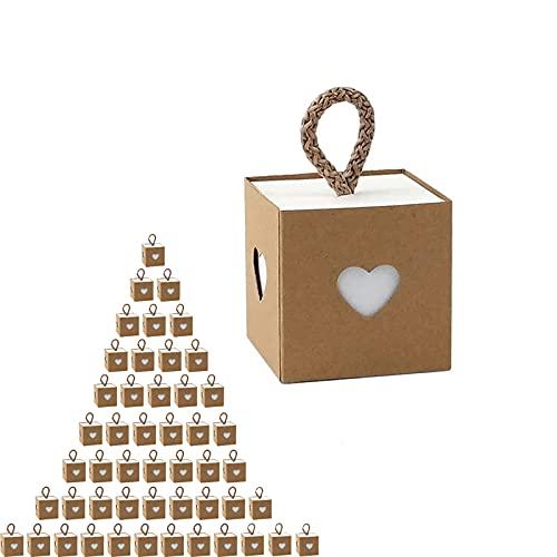 50Pcs Papel Kraft Caja de Regalo Dulces Regalos Cajas, Cajas de Regalo Kraft corazón Cajitas Chuches Cajas Regalos Boda, para bodas/Fiesta/Navidad/Cumpleaños (5,5 x 5,5 x 5,5 cm)