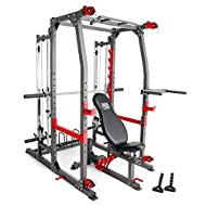 """Smith Bar with Linear Ball Bearings 6 Back pad & 4 Seat pad Adjustment Angles Compatible with 1"""" Standard and 2"""" Olympic Weight Plates Resistance Band Anchor on each side of the cage   Dual overhead pulley system allows for cable cross exercise Cage ..."""