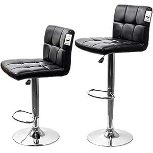 D4P Display4top Taburetes de Bar, con Estructura cromada, sillas giratorias de 360 Grados, Acolchadas Blandas, Juego de 2 (Negro)
