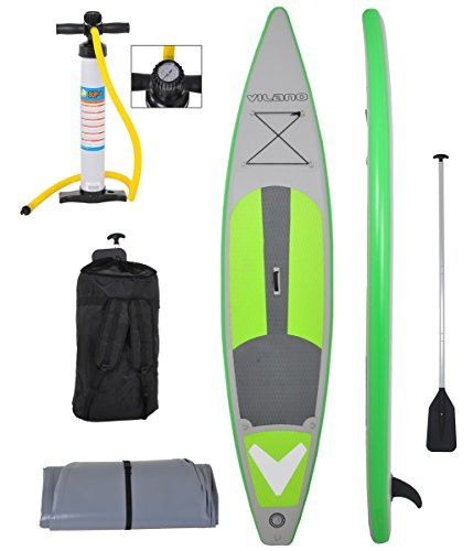 Vilano 12' (6 Thick) Inflatable Touring / Race SUP Stand Up Paddle Board Complete Kit by Vilano
