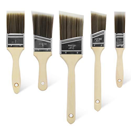 5 stück Profi Flachpinsel Set Premium Wandpinsel Lackpinsel Malerpinsel Set Wandfarbe Lasurpinsel Set zum Holz streichen Fensterrahmenpinsel Hausmalpinsel Zierleistenpinsel Pinsel Kein Borstenverlust