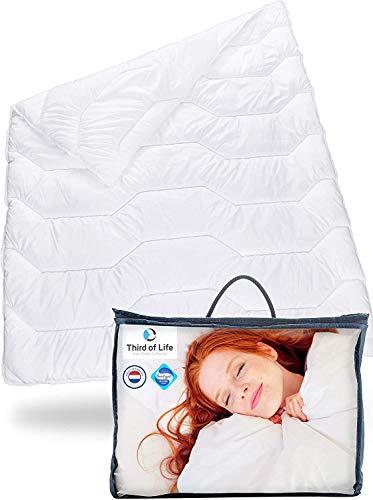 Bettdecke 240x220cm BLANCO | Flauschige Schlaf-Decke mit Feuchtigkeitsmanagement & hoher Atmungsaktivität | Optimale Hygiene für Allergiker | Perfekte 4-Jahreszeiten Decke | Ganzjahresdecke 240x220