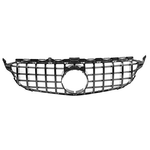 Tbest Grill Grille Trim, Voorbumper Bovengrille, Front Grille Zwart ABS GT-Style Fit for W205 2015-2018 Grill Vervangende Grille Assembly