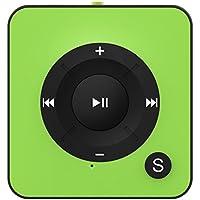 """BERTRONIC ® Reproductor de MP3 """"Made in Germany"""" BC05 - Verde - Mini-Reproductor de música con clip para sujetar al cinturón, ranura para tarjetas de memoria microSD de hasta 32GB, sin memoria interna - duración de la batería de hasta 15 horas - carcasa metálica robusta"""
