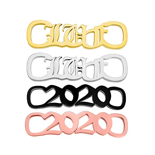 Karl 1 Pair Custom Shoe Decoration Charms Stainless Steel Silve/Gold/Rose Gold/Black Personalized Name Year Sneakers Shoe ID Tags Shoelace Buckle For Men Women Girls Family Childs Kindergarten