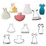 Juego de 6 cortadores de galletas, incluye falda, vestido de novia, vestido negro, vestido de niña, tutú y vestido de princesa, acero inoxidable