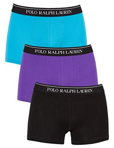 Ralph Lauren - Pack trois boxeurs Trunks Polo Ralph Lauren noir de couleur bleu noir et violet - 2XL, Multicolore