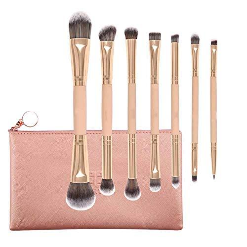 Pinceaux Maquillage Professionnels, Pinceaux Maquillages Kit de 7 pcs outils cosmétiques, pour Fond de teint, Blending, Blush, Eyeliner et Fard à Paupières, Manches en Bois Naturel, avec PU Sac