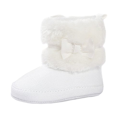ESTAMICO Baby Girl Plush Winter Snow Bowknot Boots White 6-12 Months