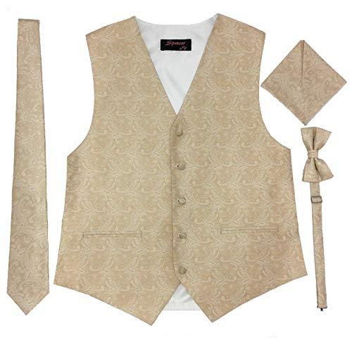 Spencer J's Men's Formal Tuxedo Suit Vest Paisley Tie Bowtie and Pocket Square 4 Peace Set Verity of Colors (Champagne, XL (Coat Size 46-51))