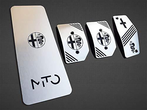 Pedales e Reposapiés De Acero para Alfa_Romeo MITO – 4 Piezas Placas Kit para Transmisión Manual Inox Metal Pedal De Embrague Freno Acelerador Cepillado Interior Personalizados