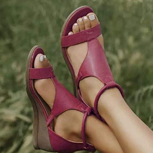 GHJUH Mujeres Sandalias de Verano Sandalias de cuña Sandalias Casual Peep Toe Plataforma Sandalias Cómodas Sofá Sofica Sandalias Playa Sandalias con Cremallera Atrás