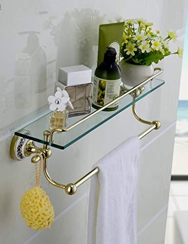 KMMK Haushalts-Badezimmer-Regal , Handtuchhalter , Duschregal Gehärtetes Glasregal Badezimmer-WC Vergoldeter Kosmetikrahmen Alle Bronzespiegel-Vorderrahmen Ablagefach mit Handtuchhalter Qualitätssich