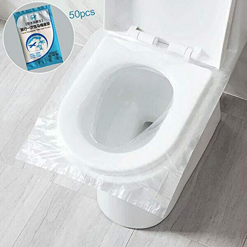 ☀ Dergo ☀ 50pcsUniversal Toilet Disposable Sticker Toilet Seat Cover Business Travel Stool