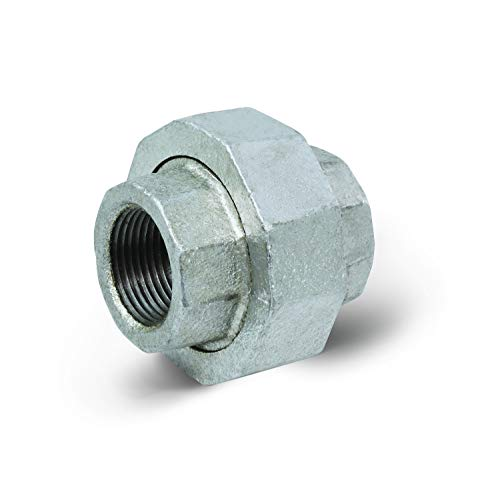 Everflow Supplies GMUN0034 3/4' Galvanized Malleable Iron Straight Union for 150 lb Applications, with Female Threaded Connects