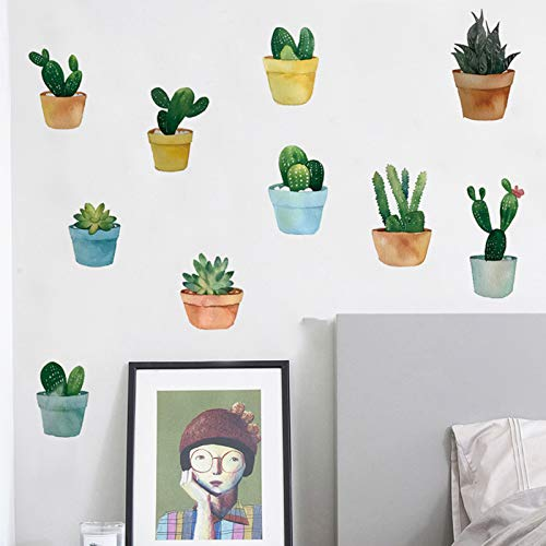 Cartoon Cactus Wall Stickers Green Potted Plants Wall Decals, Potted Succulents Wallpaper Bonsai Wall Posters, Removable Art Murals for Nursery Living Room Bedroom