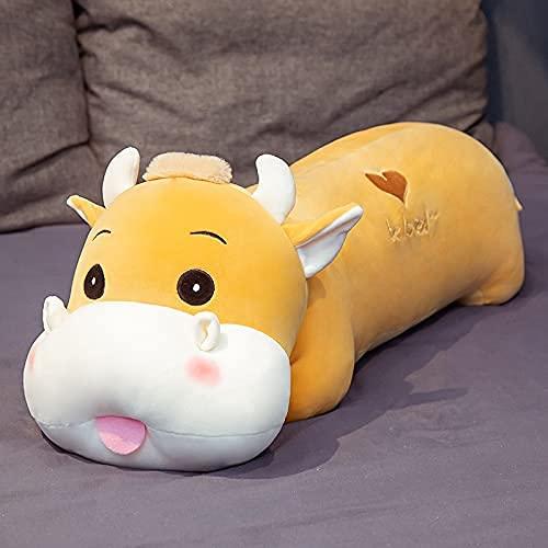 HPMM 70 cm-90 cm Nette Rinder Plüschtiere Gefüllte Tierkuh Kissen Schlafsofa Kissen Für Kinder Kinder Geschenk Puppe 90 cm braun (Color : Brown, Size : 90CM)