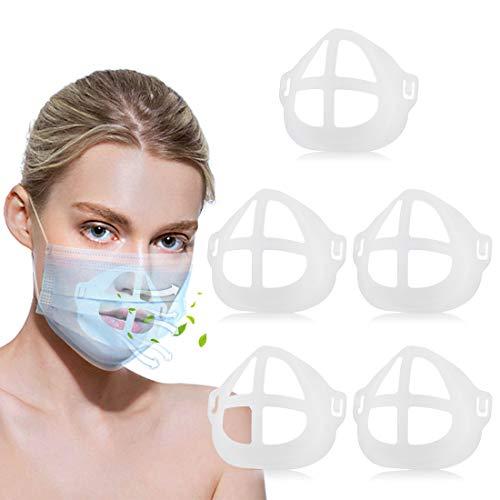 5 Stück 3D-Halterung, waschbar, Innenstütze, 3D-Gesicht, Nase, Mund, mehr Platz für komfortables Atmen, Make-up-Schutz (weiß)