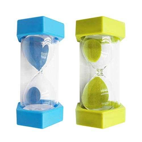 NUOBESTY 2 Pcs Sand Timers 5 Minutes and 15 Minutes Plastic Sandglass Hourglass Sand Clock Timer for Home Office Kitchen Baking Kids Classroom Sky Blue Grass Green