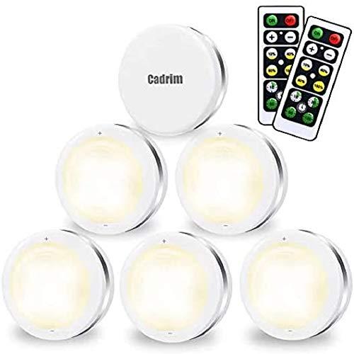 Luci Armadio LED, Cadrim 6 Luci Notturne a LED Senza Fili,con 2 Telecomandi, Luce dell'armadio Luminosità Regolabili, Luci a Batteria (Non incluso), per Illuminazione dell'armadio,Vetrine, Armadio ecc