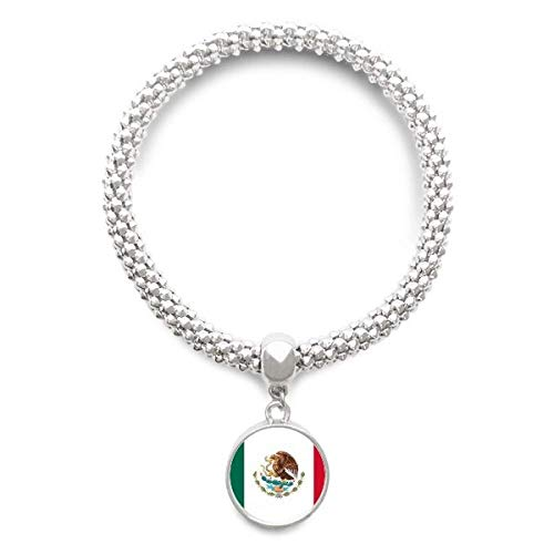 DIYthinker Damen Mexiko National Flagge Nordamerika Land Sliver Armband Laufende Anhänger Schmuck-Kette