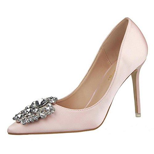 PAOLIAN Zapatos de tacón Altas con Rhinestone para Mujer Verano 2018 Moda Noche Clásicos Tacón de Aguja la Punta del pie Fiesta Negocios Sandalias de Vestir