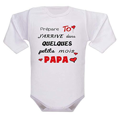 bodybebepersonnalise.fr Body humour, manches longues, enfant, brassière bébé, bodies, papa, père, fête des pères, cadeau de naissance, cadeau - blanc, 0-3 mois