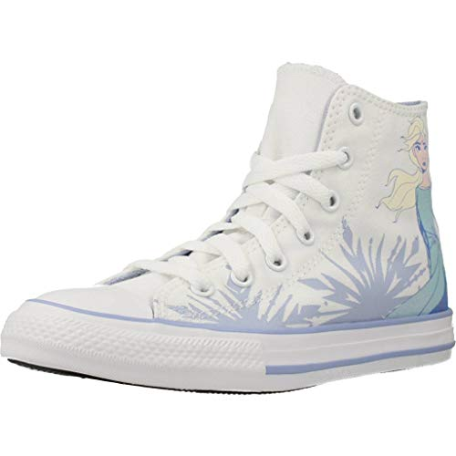 Converse Chuck Taylor All Star Elsa Hi Blanco/Garza Azul Lona Jóvenes Entrenadores Zapatos