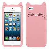 for iPhone 5 5S 5C SE Case ( 4.0 inches ) , 3D Cartoon Cute Kitty Cat Case for iPhone 5 5S 5C SE for Girls Teens Kids Women, Funny Kawaii Animal Soft Silicone Phone Cover Case for iPhone 5 5S 5S SE