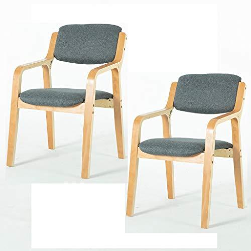 ZSH Juego de 2 sillas de comedor, sillas de salón, sillas de escritorio con reposabrazos, sillas de ordenador, patas de madera y sillas de café tapizadas de tela, 8 colores (color: A)