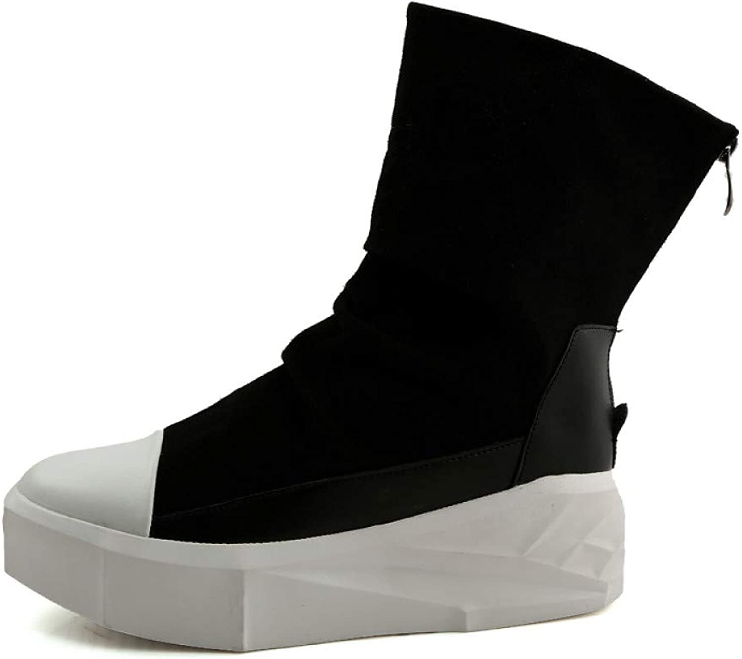FHCGMX New Men 8cm Height Increasing Platform Boots Back Zip Leather shoes Male Mixed colors High Top Black White Men's Boots